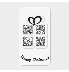 Gift box with abstract doodle pattern Christmas vector image