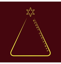 Greeting card - simple christmas yellow tree vector