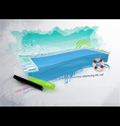 grunge swimpool design vector image vector image