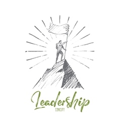 Hand drawn alpinist at mountain top with lettering vector
