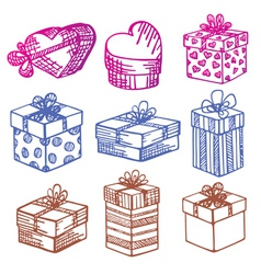 handdrawn set of gift boxes vector image vector image
