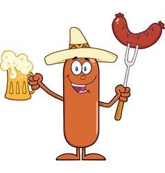 Happy Mexican Sausage Cartoon vector image