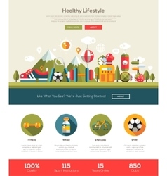 Healthy lifestyle website template with header vector