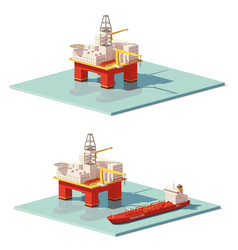low poly offshore oil rig drilling platform vector image