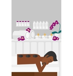 Man getting stone therapy vector