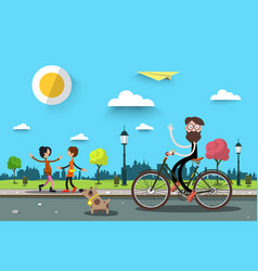 Man on bicycle with two women flat design nature vector