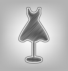 Mannequin with dress sign pencil sketch vector