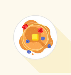 Pancake icon it aerial view with maple syrup vector
