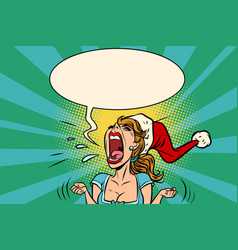 Panic rage anger screaming santa girl vector