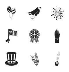 Patriot day set icons in black style big vector