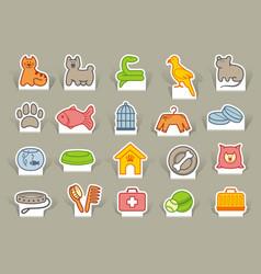 pets care icon set vector image