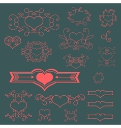 Pink floral elements vector image vector image
