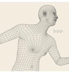 Running man polygonal body design 3d grid vector