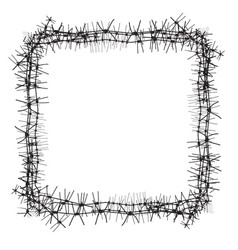 Silhouette of severe obstacle barbed wire fencing vector