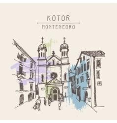 Sketch drawing church of saint tryphon in kotor vector