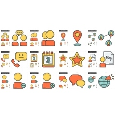 Social media line icon set vector