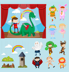 Stage scenes with different characters vector