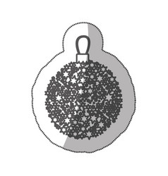 sticker monochrome silhouette christmas wreath of vector image