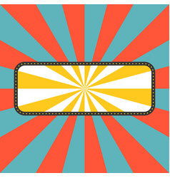 sun rays with frame in retro style vector image vector image