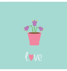 Violet flower in pot love card vector