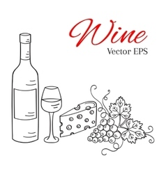 Wine bottle glass grapes and cheese vector image vector image