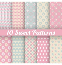10 Sweet cute seamless patterns tiling vector image vector image