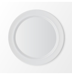 White flat round plate isolated on background vector