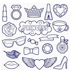 Princess fashion patches coloring set vector