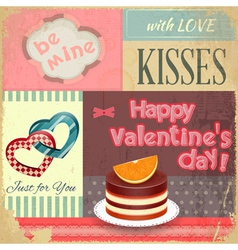 Vintage retro postcard to the valentines day vector