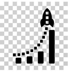 Rocket business bar chart icon vector