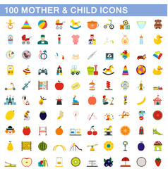 100 mother and child icons set flat style vector image