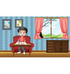 A boy writing inside the house vector