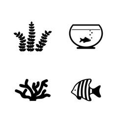 Aquarium inhabitants simple related icons vector