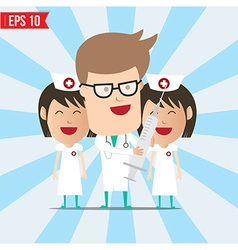 Cartoon doctor and nurse smile and using syringe - vector