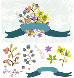 Retro flowers cute floral bouquet vector
