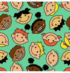 Seamless background with faces of children vector