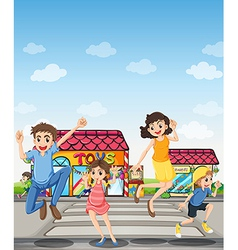 A pedestrian lane with a happy family vector