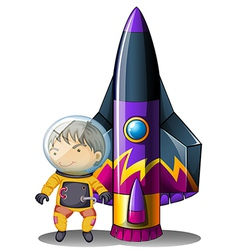A young astronaut beside the rocket vector