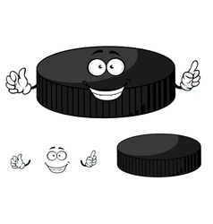 Happy cartoon hockey puck waving its hands vector