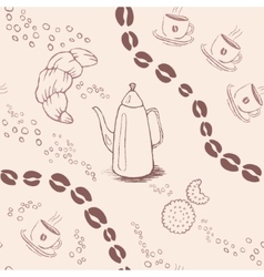 Seamless background pattern with coffee beans and vector