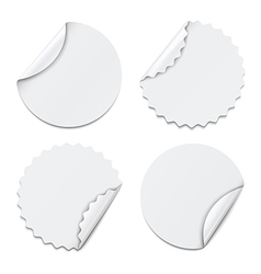 Set of white round paper stickers vector image