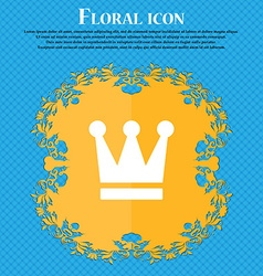 King crown floral flat design on a blue abstract vector