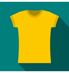 Yellow t shirt icon flat style vector