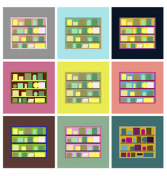 Assembly flat icons bookshelf vector