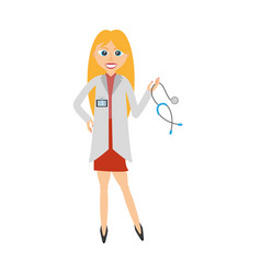 Blonde doctor woman holding stethoscope vector