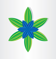 blue flower with green leaves vector image vector image