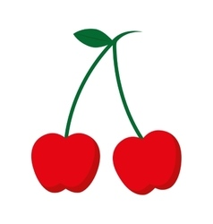 Cherry fresh fruit isolated icon vector