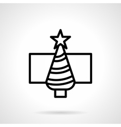 Christmas tree black simple line icon vector image