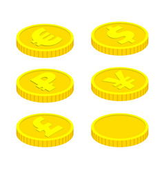 coins isolated on white background vector image