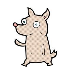 comic cartoon little dog waving vector image